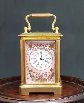 Antique Beaituful Miniature Carriage Clock Porcelain Paited Panels