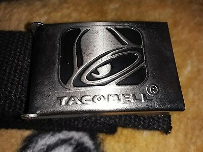 Taco Bell Employee Belt Barco Buckle Pin Hat Shirt Rare 56 Inches Long