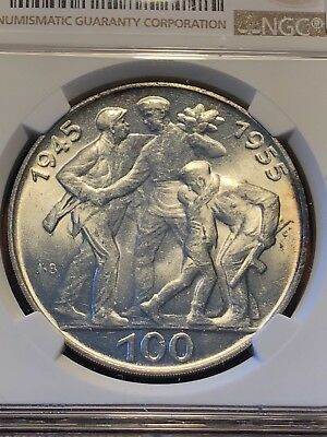 Czechoslovakia 1955 100 Korun Silver 10th Anv Liberation from Germany - NGC MS63