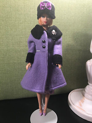 Barbie OOAK Violet colored coat, hat, dress, and shoes, handmade