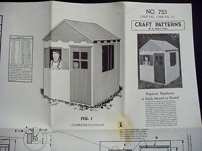 Vintage 1960's Outdoor Playhouse Building Plans Pattern Woodworking Storage Shed
