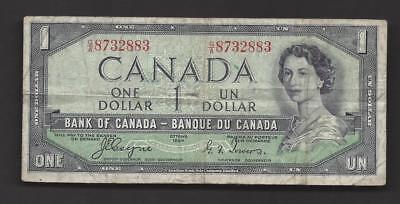 CANADA 1954 $1 DOLLAR PAPER MONEY QEII BANKNOTE P66a VERY GOOD ~391769-LK1014.HE