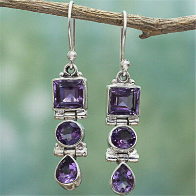 New Silver Plated Amethyst Square Round Pear Drop Dangle Hook Earrings Jewelry