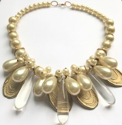 Huge Pearl Perspex Gold Coin Necklace Couture Runway Style