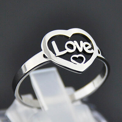 Fashion Stainless Steel Love Heart Ring men Women's Bands New
