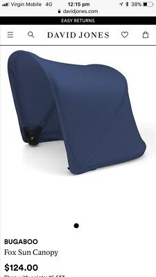 NEW Bugaboo Fox/ Cameleon 3 Sun Canopy In Sky Blue- RRP $124