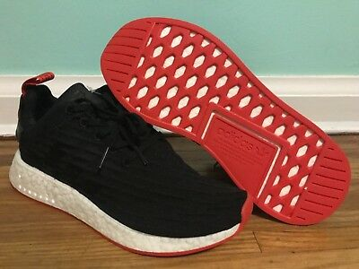d4255a206 NEW AUTHENTIC ADIDAS NMD R2 Primeknit Shoes - Black Red  BA7252 ...