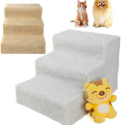 New Soft 3 Steps Cute Pet Stairs Dog Steps Cat Ladder Ramps Stair White/Beige