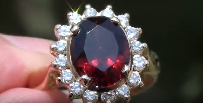 Malaya Garnet 4.30ct with Diamonds,18ct Solid Gold Ring,Resizable 6-9,Now 7.5,
