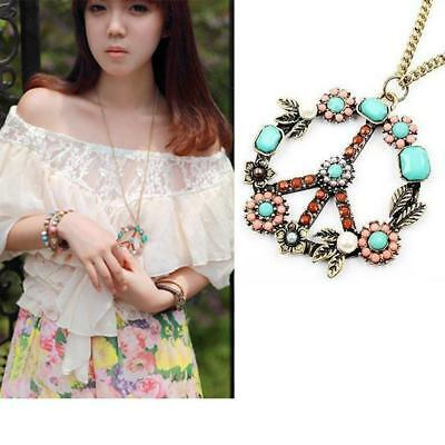 Hot RETRO Colorful Vintage Europe Style Peace Sign Inserting Beads Necklace OK
