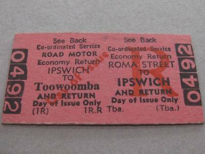 ROMA ST to IPSWICH to TOOWOOMBA RETURN TICKET - ROAD MOTOR QUEENSLAND RAILWAYS