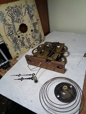 Antique-Waterbury-OG-Weight Clock Movement-Ca.1880-To Restore-#T4