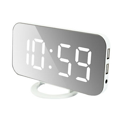 Digital LED Mirror Snooze Alarm Clock Automatic Dimming Phone Charger Dual USB