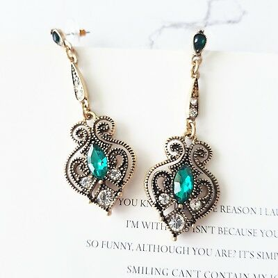 Vintage gold Gatsby art deco white & emerald green crystal statement earrings
