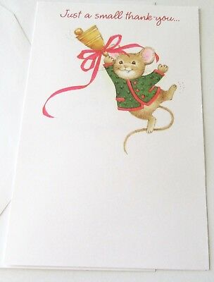 Unused Vtg Christmas Thank You Card Cute Mouse Hanging from Bell Happy New Year