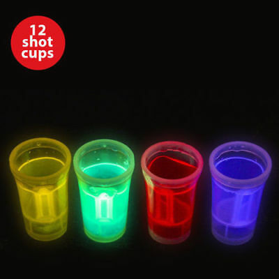 12 Shot Cups Glow Chaser Dark Cup Drinking Entertaining Bar Parties 36ml