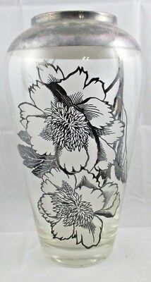 "Large 10"" ROCKWELL Sterling Silver OVERLAY Vase with Flowers Double-Sided Label"