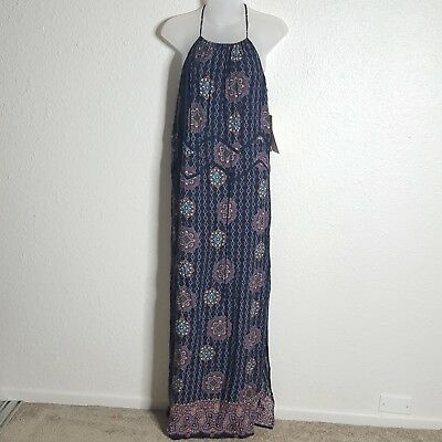 f1a6fe2ee16 NEW MODCLOTH DOE   Rae Womens Maxi Dress Geometric Print Sleeveless Blue  Small -  9.95