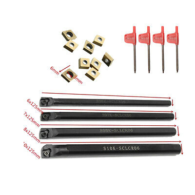4 Pc 6-10mm SCLCR06 Lathe Boring Bar Turning Tool With 10 Pcs CCMT060204 Inserts