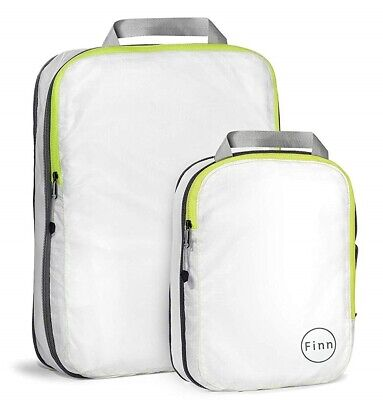 FinnTM Compression Travel Packing Cube (2 piece set), White / Fluorescent Yellow