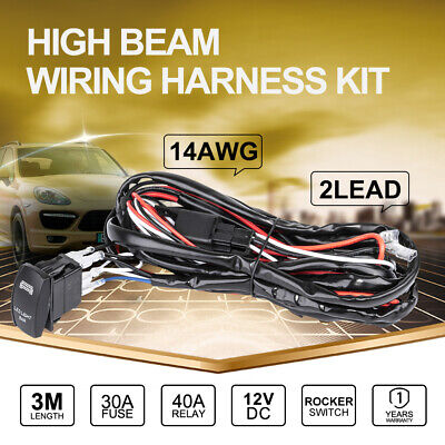 Wiring Loom Harness Kit 12V DC 40A Relay Fuse Switch LED Work Driving Light Bar