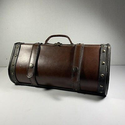 Vintage Genuine Brown Leather Wine Bottle Holder Case Carrier