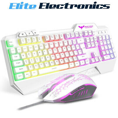 Havit Rainbow Backlit Wired Gaming Keyboard & Mouse Combo White