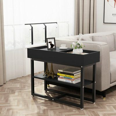 LITTLE TREE Black Side End Table Modern Two-Tier Nightstand with Storage Shelf