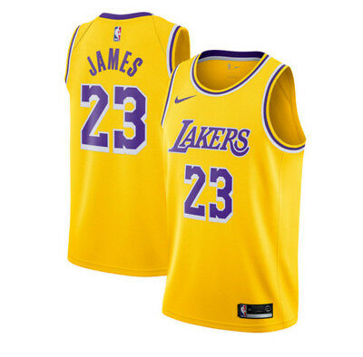 Men's Los Angeles Lakers #23 LeBron James Basketball jersey retro yellow S-XXL