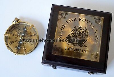 Antique Nautical Brass Dollond London Compass With Black Wooden Box Great Gift