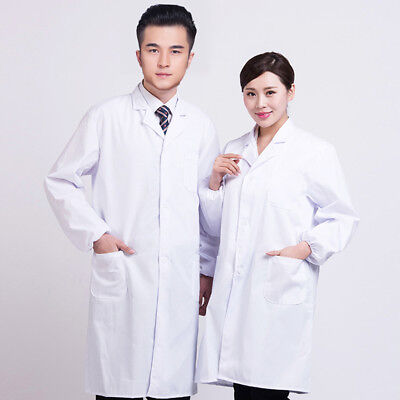 Unisex White Gown Lab Coat Uniform Hospital Scientist School Doctor's Overall