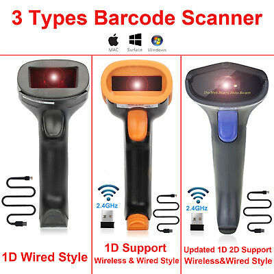 USB Wired/2.4Ghz Wireless Barcode Scanner - Automatic 1D & 2D QR Code Reader