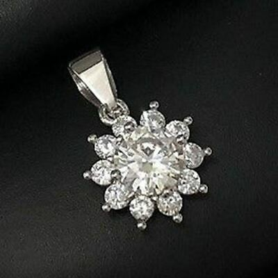 SOLID 14k White Gold 2 Ct Round Diamond Halo Pendant Charm Women Jewelry Gift