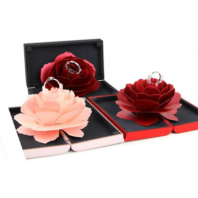 3D Pop Up Rose Ring Box Wedding Engagement Jewelry Storage Holder Case Funny