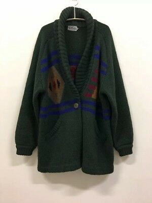 LA MONTE Vintage Wool Mohair forest green Knitted Jacket Cardigan Unisex M - L