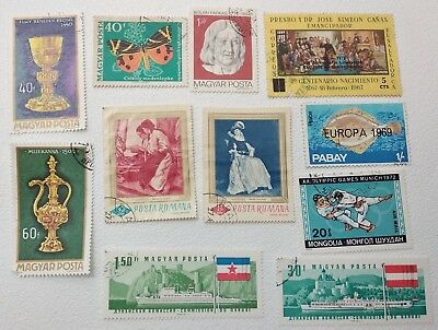 Stamps Worldwide Lot 11 pcs Used Collection Vintage Old Estate