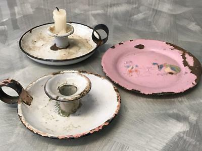 Old Vintage Wee Willy Winky Enamel Candle Holders Pink Plate French Shabby Chic