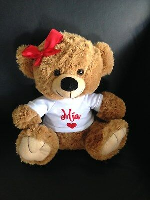 Personalised Valentines Bear 26cm Any name embroidered - Great Gift  Teddy Bear