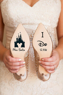 Personalised Disney Wedding Shoe Vinyl Decal Stickers Castle Bridal Gift Name