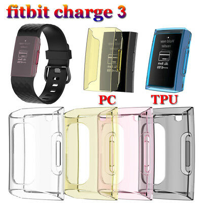 TPU PC Case Silicone Protective Shell Cover Screen Protector For Fitbit Charge 3