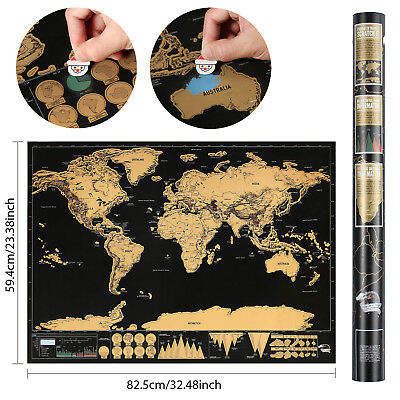 BIG Scratch Off World Map Poster with States and Country Flags 82.5 x 59.4cm new