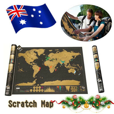 2019 Scratch Off World Map Deluxe Travel Log Journal Poster Wall Decor Atlas AU