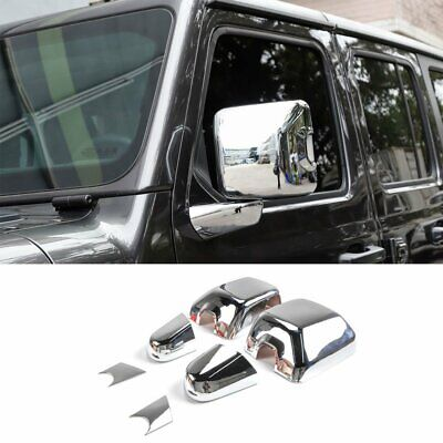 Chrome ABS Exterior Rearview Mirror&Base Cover For 2018 Jeep Wrangler JL 6pcs