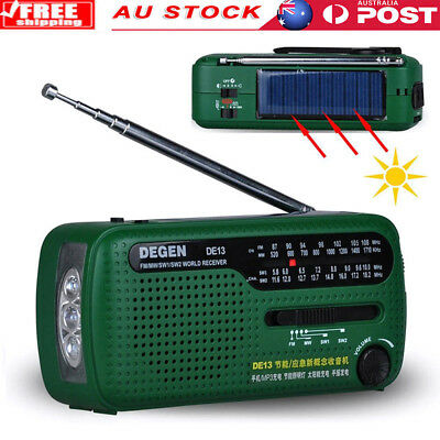 DE13 FM MW SW Crank Dynamo Solar Power Emergency Radio World Multiband Receiver