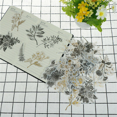 60xNative flower gilding stickers decoration diy diary planner scrapbooking ^S