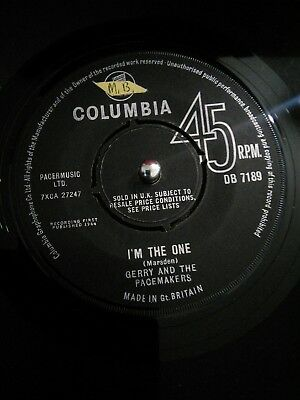 "Gerry And The Pacemakers ‎– I'm The One Vinyl 7"" Single UK DB 7189 1964"