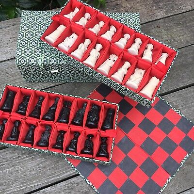 Oriental Chinese Chess Set Resin Game Pieces In Decorative Fabric Covered Box
