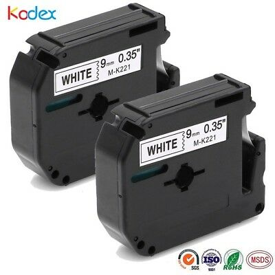 2 PK M-K221 MK-221 Compatible for Brother P-touch Label Tape Cassette 9mm Ribbon
