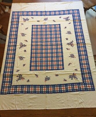 "Vintage printed tablecloth Plaid Floral Red White Blue 66"" x 60"" very clean"