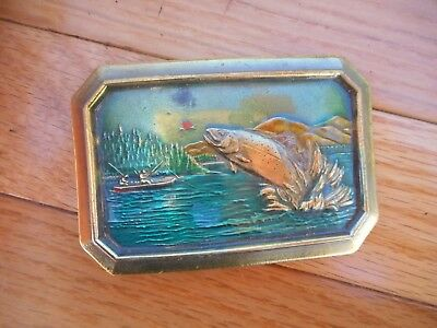 The Great American Buckle Co. 1977 Trout Fish Salmon Belt Buckle # 527 Brass